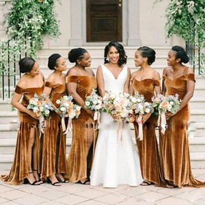 2020 Velvet Mermaid Long Bridesmaid Dresses Off The Shoulder Front Split Wedding Guest Dress Plus Size African Maid Of Honor Gowns