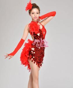 Payet / tüy tarzı Cha Cha / Rumba / Samba / Balo / Tango Dans Giyim Çocuk Costume'da İçin Kız Latin Dans Elbise
