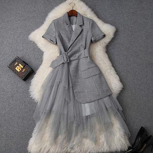 2019 весна лето элегантный с коротким рукавом зубчатый лацкан чистый цвет кружева панелями длинные платья макси повседневные платья W0716T9748