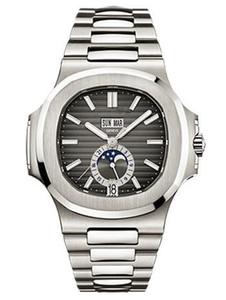 Элегантные спортивные синие циферблаты черные автоматические механические дизайнерские часы Moon Phase Date 24 часа известные мужские мужские мужские часы Regarder 5726