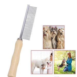 Pet Rake Pins peigne poignée en bois cheveux Chien Chat Toilettage Trimmer Rake peigne animaux brosse en acier YYA45 Pins