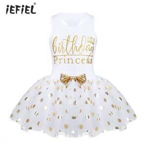 Infant Baby Girls Birthday Princess Outfit Polka Dots Skirt with Sleeveless Tops Set for birthday party holiday SZ 12 Months-6 Y200704