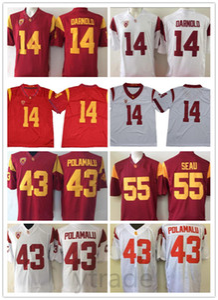 Футбольные майки Колледжа Сэма Дарнольда NCAA USC (Без имени С Именем) 55 Джуниор Сео 43 Футболки университета Троя Поламалу