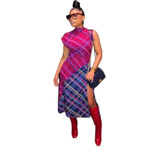Nova Primavera Hot Moda Sexy Mulheres O Pescoço Sem Mangas Vestido Elegante Senhora Xadrez Side Dividir Vestido Skinny Sexy Oco Out Mid Grid vestido de impressão