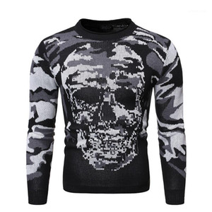 Crew Neck Mens Sweaters Casual Males Clothing Camouflage Skull Priint Mens Designer Sweaters Fashion Slim Pullover