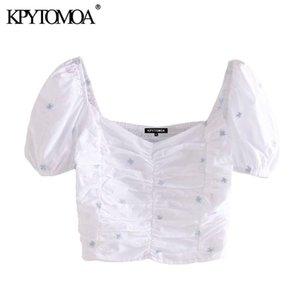 KPYTOMOA donne 2020 modo di ricamo floreale ritagliata camicette Vintage Puff manica posteriore elastica femminili Camicie Blusas Chic Top