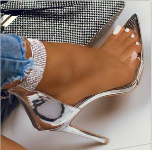 Artı boyutu 35-40 41 42 Gümüş Rhinestone Ayakkabı Moda Lüks Tasarımcı Kadınlar Yüksek Topuklar Düğün Sandalet Kutusu ile gel
