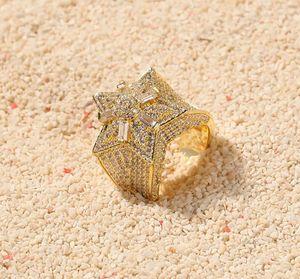 14K Золото CZ Super Star Shape Solitaire Cluster Rings Кубический Цирконий Micro Pave Имитация Кольца с Бриллиантами с подарочной коробкой