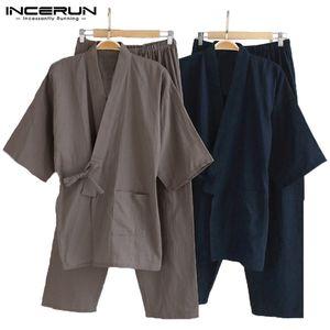 Erkekler Kimono Pijama Japon Tarzı Pamuk Gecelik Pantolon Set Bornoz Düz Renk Retro Rahat Rahat Pijama Takım Elbise Erkekler 5XL