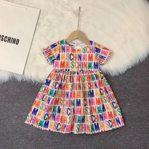 Печать Baby Girl платье Симпатичные малышей цветов принцессы с коротким рукавом Детские платья Сарафаны летние платья облачить
