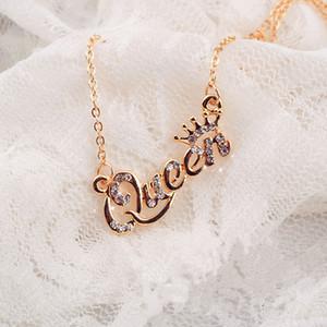 Элегантный Золото Серебро Письмо Королева ожерелье Кристалл Rhinestone ключицы цепи ожерелья для женщин Lady дизайнер ювелирных изделий подарка