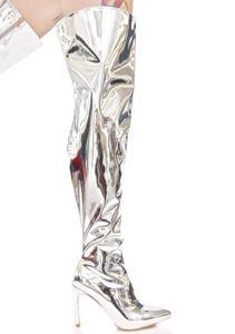 Runway Stilettos Silber Gold Spiegel Leder Metallic Over The Knie Frauen Stiefel Mode Oberschenkel High Booties Party Kleid Schuhe