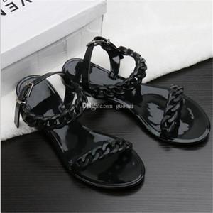 2018 새로운 여름 플라스틱 체인 비치 신발 캔디 컬러 젤리 샌들 플랫 샌들 바닥 체인