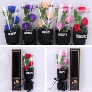 Rose Sapone Fiore Bouquet Rosa artificiale bagno profumato sapone con la scatola di nozze San Valentino Mothers Day degli insegnanti decorazione dono GGA3179-4