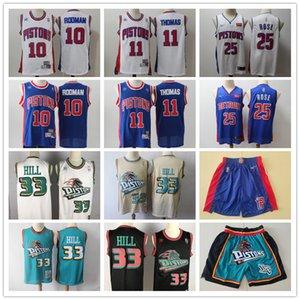 Мужской ДетройтПоршниПережитка Grant 33 Hill Исайя 11 Томас Деннис Родман 10 Derrick 25 Rose Баскетбол Трикотажные шорты синий белый