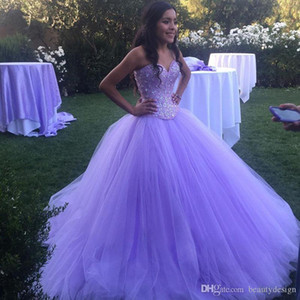 Sparkly Lavender Sequin Beaded Prom Long Quinceanera Dresses Masquerade Sweetheart Bling Crystal Pageant Dresses For Sweet 16 Custom Made