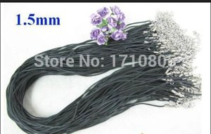 Hot 100pcs 1.5mm 45cm 18'' Black Rubber Pendant Necklace Cord String Strap Accessories Fashion Women Jewelry Holiday Gifts D122