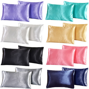 Seide und Satin Pillowcase Königin Satin Silk Kissen Kopfkissenbezug Cover Heim Bettwäsche Massiv weiche seidige Pillowcase Pure Color Glatte