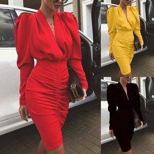 السيدات اللباس للمرأة عام 2020 المصمم الخريف والشتاء فساتين V ديب حقيبة هوب فستان مثير مثير حقيبة هوب التنورة 3 اللون
