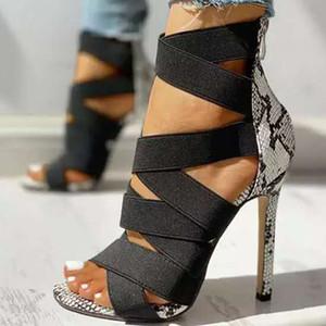 Mulheres Sandálias do verão Cruz Plus Size Amarrado oco Sexy Snake Impresso com tira no tornozelo 2020 fino novo salto alto Zipper Feminino ShoesMultifunction