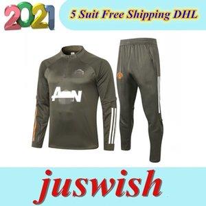 20 21 MANSCHESTER ENTRENAMIENTO TAJO HOMBRES MARTALIAL Rashford Fútbol Chaqueta de Fútbol SportSwear Azul Pie Jogging 2020 2021 Pogba United Soccer Traje