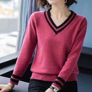 shintimes женский свитер Осень Зима свитера женщины пуловер с длинным рукавом женщины свитер вязаный пэчворк V-образным вырезом дамы топы