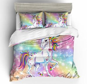 Animal regina 3pcs 3D unicorno bianco Beding set Unicorn Cavallo copripiumino Federe completo per ragazze dei capretti di trasporto Copriletti