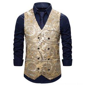 Fashion Slim Fit Double Breasted Vest Men 2019 Shiny Sequins Men's Outerwear & Coats Men's Clothing DJ Club Prom Dress Vest Waistcoat Men St