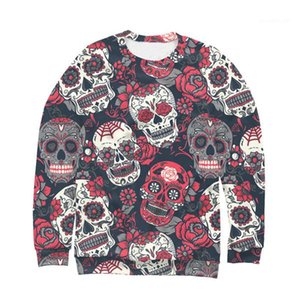 Novelty Hot Style Long Sleeved Crew Neck Pullover Sweatshirts Fashion Mens Clothing Halloween Mens Designer Sweatshirts Skulls Printed