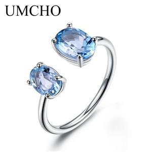Umcho 10.7ct Natural Blue Topaz Gemstone Ring Solid 925 Sterling Silver regolabile anelli di fidanzamento per le donne
