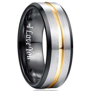 8mm classico anello al carburo di tungsteno 100% per uomo incidere ti amo fedi nuziali anelli di tungsteno per uomo donna regalo
