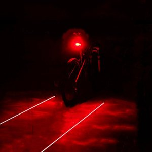 2020 Bike Cycling Lights 2 Lasers 3 Modes 5 LED Waterproof Bike Taillight Safety Warning Light Bicycle Rear Lamp Tail Light