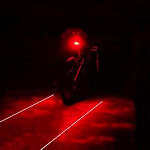 2020 Bisiklet Bisiklet Işıklar 2 Lazerler 3 Modları 5 LED su geçirmez Bisiklet Taillight Güvenliği Uyarısı Işık Bisiklet Arka Lamba Arka Lamba