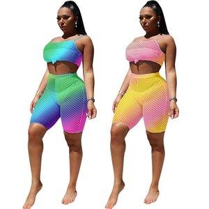 Kadınlar Şort Eşofman Rhombus Mesh Yelek Kaşkorse + Şort 2 Adet Set Patchwork Hollow Out Crop Top Kıyafetler Suit Giyim S-2XL