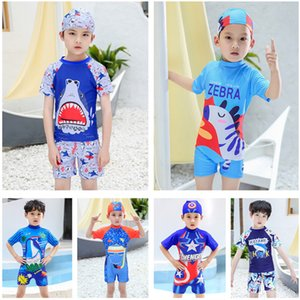 Fashion Boys Swimsuits Cartoon Print Children Short Sleeve Shorts Swimwear + HatsTeens Boy Surfing Beachwear Quick Dry Bathing Suit Gift INS