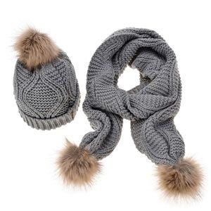Sciarpa Inverno Cappello donna Set Rhombus Knit Pompon sfera Cuffed Beanie Cap Scialle D08E