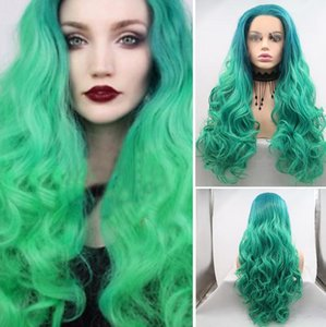 Heat Resistant Long Body Wave Hair Fluorescent Green Color Lace Front Synthetic Wigs For Part Women Hair,Cosplay,Party