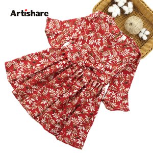 2018 Yeni Yaz Çocuklar Için Artishare Çiçek Desen Çocuk Elbise Casual Genç Kız Giysileri 6 8 10 12 14 J190514