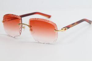 2020 Bestselling beliebtes Metall Mix Red Plank Sonnenbrille 3524012 Große Ring Randlos Metall Brillen Metallrahmen Brillen Männliche und weibliche Hot
