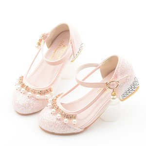Girls' Leather Shoes Semi-high Heeled Princess Shoes 2019 Spring And Autumn Korean-style Pearl Children Buckle Transparent Shoes