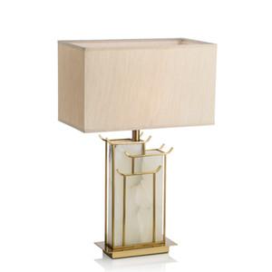 Estilo chino lámpara de mesa de piedra cabecera de la tela de la lámpara de mesa Habitación Sala luces se dirige Deco lámpara de escritorio Estudio cubierta de escritorio del loft Li