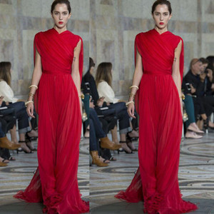 2020 Elie Saab Kırmızı Abiye Ruffles Yüksek Boyun Şifon Balo Abiye Kat Uzunluk Moda Pist Parti Elbise