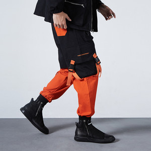 Men Ribbons Color Block Letter Print Pocket Cargo Pants 2019 Harem Joggers Harajuku Sweatpant Hip Hop Trousers