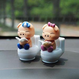 1x cadeau poupée mignon de porc solaire solaire Ornements de décoration de voiture de bureau Belle décoration Shook Cartoon # LQ1137