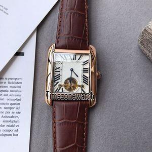 Nova W5330003 Rose Gold Silver Texture Grande Roma Marca Tourbillon Automático Mens Watch Relógios De Couro Marrom de Alta Qualidade Para Timezonewatch E58