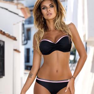 ملابس السباحة النسائية الجديدة 2019 ... ... البكيني الأنثوي المنفصل ... ... Set Sexy Solid Chest Knotted Swimwear Micro Pikini ... ... Two Piece Swim Suems