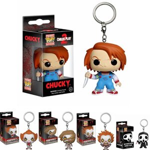 FUNKO POP NEW IT Pennywise Scream Ghost Face Chucky Pocket Keychain Action Figure Collection Toys for Children Christmas Gift