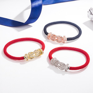 Guan Xiaotong S925 sterling silver zodiac year women's wei xiang full rhinestone ma ti kou bracelet red string unisex couple bracelet