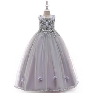 2019 trend children's costumes hand-stitched beaded flower dress flower girl dress girl puff princess dress fashion