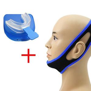 Anti Schnarchen Kinnriemen Gürtel Jaw Supporter Nasenstreifen CPAP + Stop Schnarchen Lösung Mundstück Schlafapnoe Night Guard TMJ